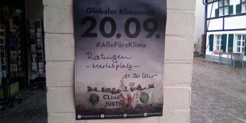 Plakat Fridays for Future: Globaler Klimastreik 20.09.2019 auch in Ratingen