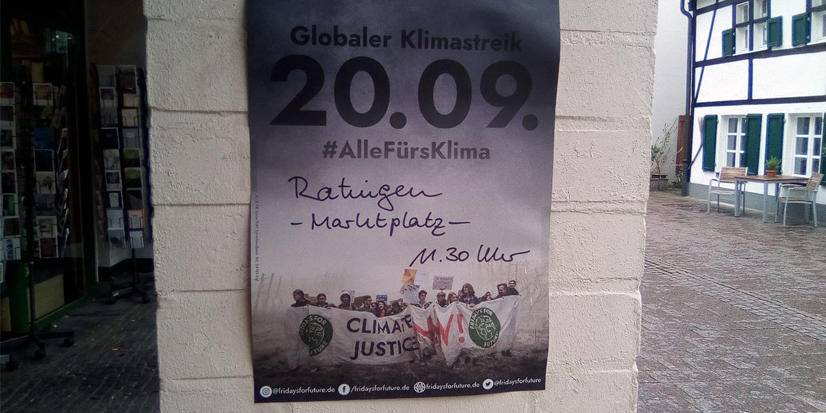 Plakat Fridays for Future: Globaler Klimastreik 20.09.2019 auch in Ratingen
